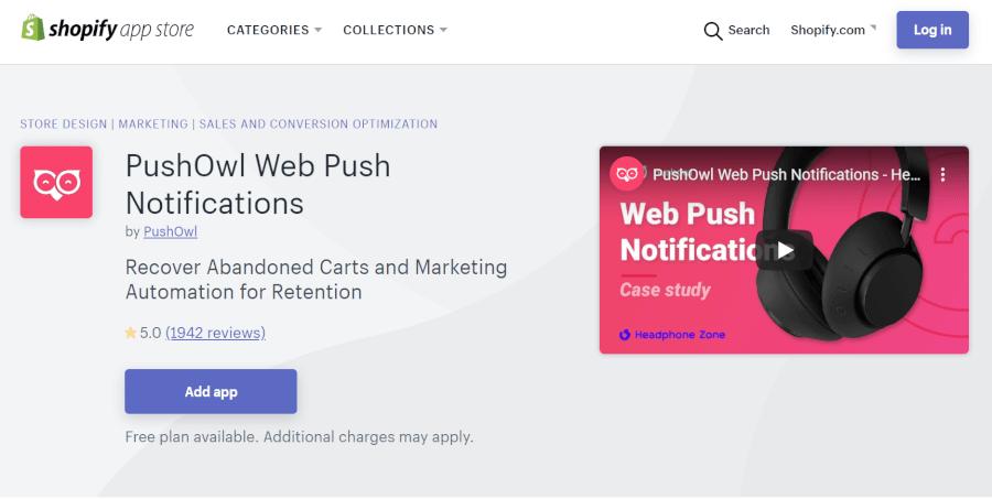 ShopifyアプリPushOwl